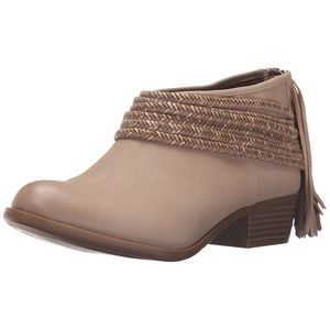 BCBGeneration brown rope & fringe ankle booties